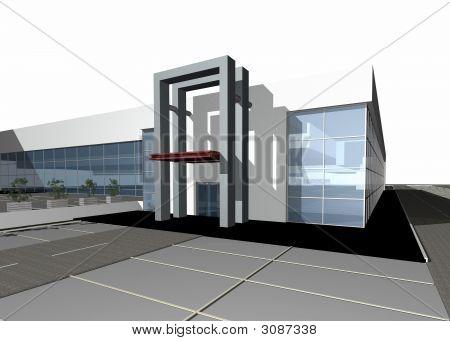 3D Render eines modernen Gebäudes Isolated Over White Background