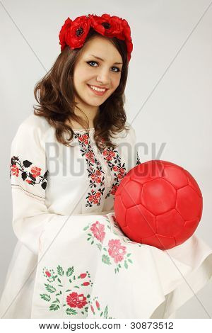 Ukrainian Holds Red Ball