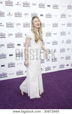 SANTA MONICA, CA - FEB 25: Brit Marling at the 2012 Film Independent Spirit Awards on February 25, 2012 in Santa Monica, California