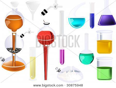 illustration with chemical glass collection isolated on white