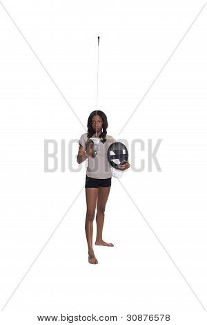 Young African American Woman With Rapier And Mask