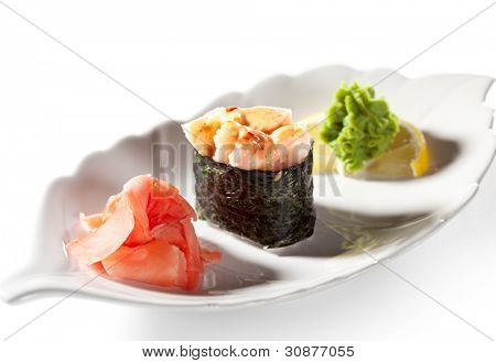 Spicy Shrimps (ebi) Gunkan Sushi. Garnished with Ginger and Wasabi