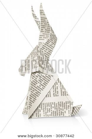 rabbit paper origami toy vector illustration isolated on white background EPS10. Transparent objects used for shadows and lights drawing