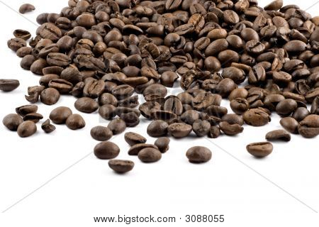 Nice Browne Coffee Beans Isolated On White Background