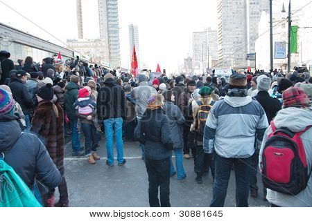 MOSCOW - MARCH 10: Participants of the protest manifestation against falsification of the president election, Noviy Arbat in Moscow. March, 10, 2012 in Moscow