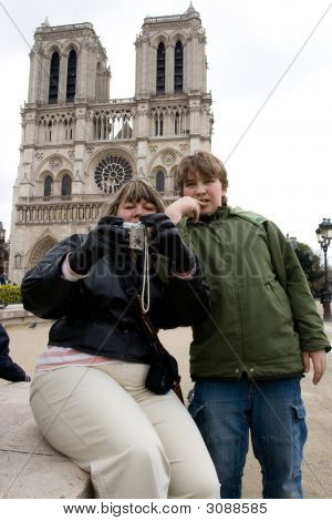 Tourists Near Notre Dame De Paris