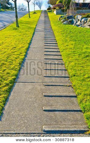 Sidewalk with stone steps