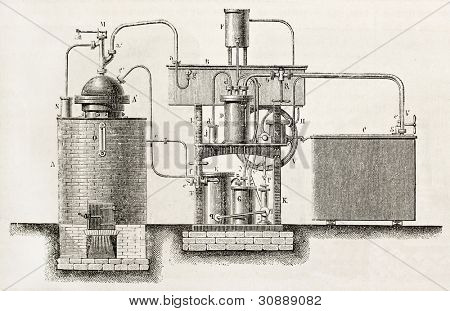 Industrial cooling apparatus old schematic illustration. Created by Bourdelin, published on L'Illustration, Journal Universel, Paris, 1863