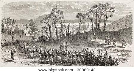 Tepeaca vieja visión México y francés tropas marchando hacia ella. Creado por Gaildrau, publicado en L