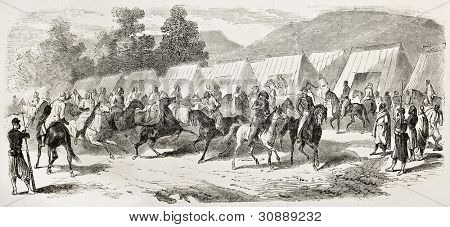 Spahis encampment in Toulon, old illustration (French army light cavalry regiments recruited in west-northern Africa). By Janet-Lange, published on L'Illustration, Journal Universel, Paris, 1863