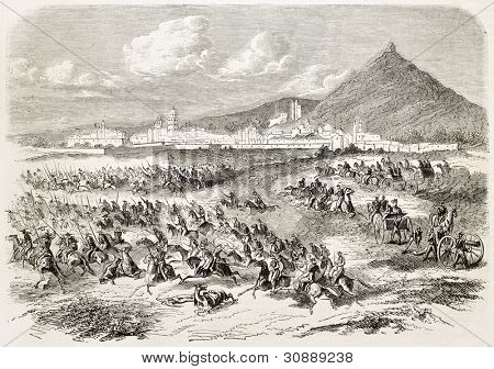 French intervention in Mexico: Atlixco battle (Colonel Brincourt charging General Echegaray Corps). Created by Janet-Lange, published on L'Illustration, Journal Universel, Paris, 1863