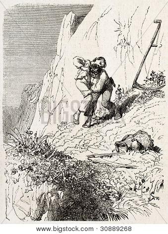 Mowers quarrel old illustration. Created by Girardet, published on L'Illustration, Journal Universel, Paris, 1863