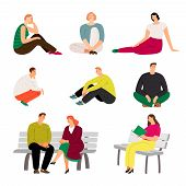 Resting People. Sitting And Relaxing Casual Men And Women Vector Illustration, Variety Rested Charac poster