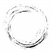 Enso Symbol Design. Brush Black Circle. Original Hand Paint Logo, Emblem Design. Brush Stroke Round  poster