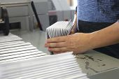 Printing House. Packaging Of Printed Leaflets. Advertising Stuff poster