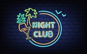 Resort Night Club, Beach Cocktail Bar Retro Signboard With Palm Tree, Coconut, Cocktail Glass Glowin poster