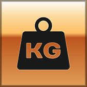 Black Weight Icon Isolated On Gold Background. Kilogram Weight Block For Weight Lifting And Scale. M poster