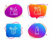 Cleanser Spray, Shampoo And Spray And Dirty Water Icons Simple Set. Shampoo Sign. Washing Liquid, Wa poster