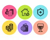 Travel Passport, Coins And Loan House Icons Simple Set. Accounting Wealth, Medical Shield And Wine G poster