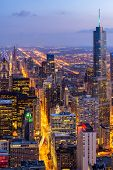 Aerial view of Chicago Skylines building at Chicago downtown Illinois USA. Looking to the south of C poster