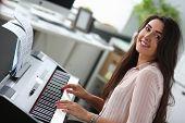 Classical Music. Pretty Young Girl. Home Studio Interior. Leisure Entertainment. Piano Keyboard. Por poster