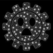 Glossy Mesh Gear Wonder Smiley With Glow Effect. Abstract Illuminated Model Of Gear Wonder Smiley Ic poster