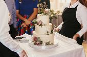 Modern Wedding Cake At Wedding Reception. Waiters Taking Out Stylish White Wedding Cake With Floral  poster