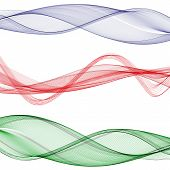 Vector Set Abstract Wave Pattern. Blue Wave. Green Wave. Red Wave. Transparent Wave Set. Color Wave. poster