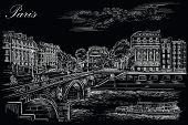 Vector Hand Drawing Illustration Of Pont Saint Michel Bridge (paris, France). Landmark Of Paris. Cit poster
