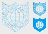 Mesh Global Shield Model With Triangle Mosaic Icon. Wire Carcass Triangular Mesh Of Global Shield. V poster