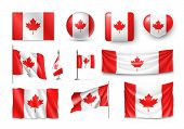 Various Canada Flags Set Isolated On White Background. Realistic Waving National Flag On Pole, Table poster