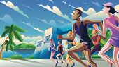 A Theme, A Key Visual, An Illustration Of Marathon Runners At Starting Point In Vector. It Is Suitab poster