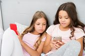 Mobile Addicted. Girl Play Games Smartphone Online. Pajamas Party Concept. Happy Childhood. Kids Sur poster