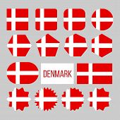 Denmark Flag Collection Figure Icons Set . On Red Field Charged Background White Nordic Cross That E poster