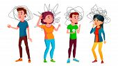 Anxiety Group Of Characters Man And Woman . Design Sad And Unhappy Anxiety Young Boy And Girl With H poster