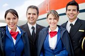 picture of cabin crew  - Portrait of an airplane cabin crew smiling - JPG