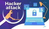 Cyber Criminal Hacking Into Laptop. Monitor With Lock On Screen, Fire, Money, Email, Shield Signs. D poster