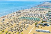 Aerial View Of Rimini Resort Beach In Italy With A Lot Of Parasols And Sunbeds During Summer Time poster