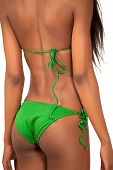 stock photo of string bikini  - Rear view closeup of sexy young woman in bikini - JPG