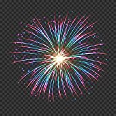 Festive Fireworks With Pink And Blue Shining Sparks. Colorful Pyrotechnics Vector Element. Realistic poster