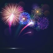 Bursting Fireworks Template With Copyspace Against Black Background. Colorful Pyrotechnics Show. Rea poster