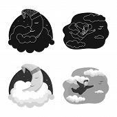 Vector Design Of Dreams And Night Logo. Collection Of Dreams And Bedroom Stock Symbol For Web. poster