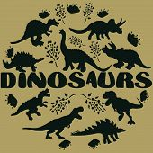 Black Silhouette Dinosaurs Round Flat Hand Drawn Composition. Hand Written Lettering Dinosaurs. Circ poster