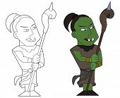 stock photo of clip-art staff  - Orcish shaman holding staff illustration coloring book line - JPG