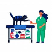 Pet Grooming Concept. Young Woman Cutting Cats Claws. Cat Care, Grooming, Hygiene, Health. Pet Shop, poster
