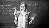 Cognition Process Of Acquiring Knowledge Through Thoughts. Woman Teacher With Book In Front Of Chalk poster