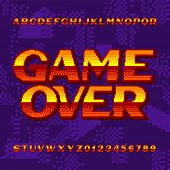 Game Over Alphabet Font. Digital Gradient Letters And Numbers On Pixel Background. 80s Retro Arcade  poster