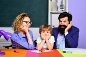 Ready To Study. School Community Partnership. Educational Process. School Family. Happy Family. Boy  poster