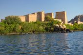 foto of isis  - The Temple of Isis at Philae island in Lake Nasser seen from a boat - JPG