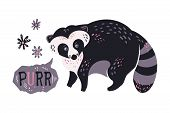 Vector Flat Hand Drawn Raccoon Surrounded By Plants And Flowers. Lettering: Purr. poster